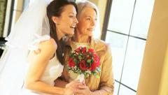 Quiet Time Together Bride Mother Before Wedding Stock Footage