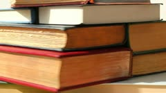 Book stack spin 3 - stock footage