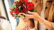 Wedding Bouquet Being Admired Bride and Mother Stock Footage