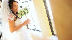 Traditional Bride in Luxury Home Posing Photographs Stock Footage