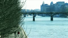 La Seine river, winter Stock Footage