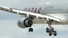 Stock Video Footage of Qatar Airways Airbus A-330 landing
