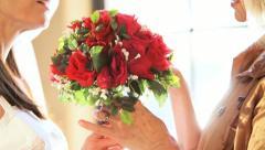 Portrait Bride Mother Wedding Bouquet Stock Footage