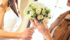 Portrait Bride Mother Wedding Bouquet Stock Footage