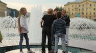 Children near the fountain Stock Footage
