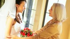 Caucasian Bride in Wedding Dress Talking Mother - stock footage