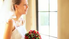 Portrait Pretty Caucasian Bride in Wedding Dress Stock Footage