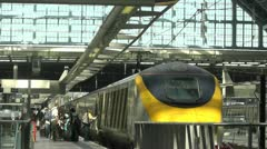 Time Lapse of anonymous people boarding the Eurostar train Stock Footage