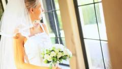 Caucasian Bride Wedding Posy Dress Veil Stock Footage