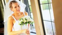 Pretty Young Blonde Bride Standing Window Home Stock Footage