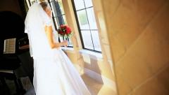Portrait Caucasian Bride White Wedding Dress Stock Footage