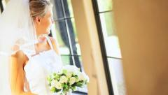 Close up Bride Traditional Wedding Dress Veil Stock Footage