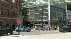 St Pancras Eurostar Main entrance Stock Footage