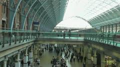 Elevator descends at St Pancras Station Stock Footage