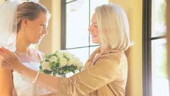 Quiet Time Together Bride Grandmother Before Wedding Stock Footage