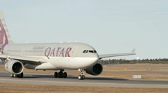 Qatar Airways Airbus A-330 taxiing Stock Footage