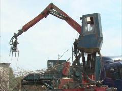 Worker machine wood crush Stock Footage