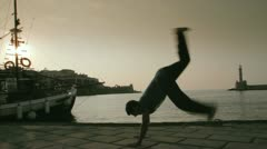 Breakdance in sunset Stock Footage