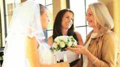 Proud Mother Grandmother Smiling with Bride Wedding Day Stock Footage