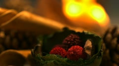 Christmas ornaments in fire, Slow Motion - stock footage
