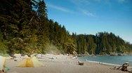 HD West Coast Beach Camping, Pacific Ocean, Sombrio Stock Footage