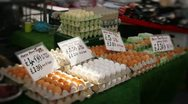 Eggs at a market stall Stock Footage