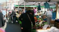 Wide shot of a busy urban market Stock Footage