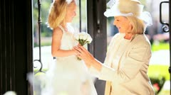 Young Bridesmaid Grandmother Wedding Day Stock Footage