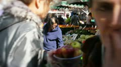 Asian couple shopping at market Stock Footage