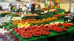 Fruit and vegetables at market stall Stock Footage