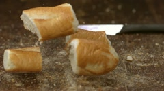 Baguette and knife, Slow Motion - stock footage