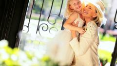Pretty Little Bridesmaid with Grandmother Stock Footage