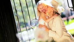 Hug for Cute Bridesmaid From Grandma Stock Footage