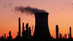 Industrial towers in twilight Stock Footage