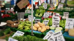 Fruit and veg at market Stock Footage