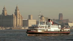 Mersey Ferry passes the Liver Buildings Stock Footage