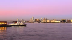 Mersey Ferry crossing River Mersey to Liverpool Stock Footage