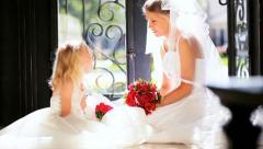 Portrait Young Bride Cute Bridesmaid Stock Footage