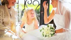 Young Bride Cute Bridesmaid Grandma Wedding Day Stock Footage