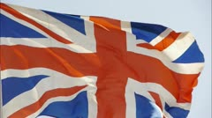 Britain flag is fluttering in wind. Stock Footage