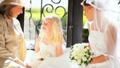 Beautiful Bride with Cute Flower Girl and Grandmother Stock Footage