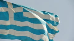 Greece flag is fluttering in wind. Stock Footage