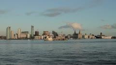 Ship passing Liverpool skyline Stock Footage