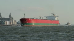 Tanker, shipping, River Mersey, Liverpool Stock Footage