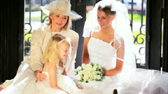 Family Portrait Bride Cute Bridesmaid and Grandmother Stock Footage