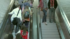 Shoppers, escalator, Liverpool One Stock Footage