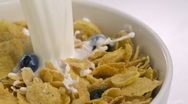 Stock Video Footage of Cereal and milk, Slow Motion