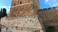 Tower of King David in Jerusalem Stock Footage