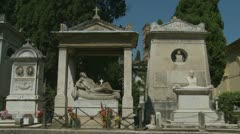 Youth with flower, Italian cemetery (2 clips) Stock Footage