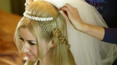 Preparing For Wedding - Putting On The Veil Stock Footage
